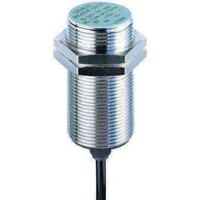 INDUCTIVE SENSOR M30, 3-WIRE, NPN, NO 15...34V DC SN=10MM, FLUSH 200MA, IP67 CABLE, 2M, PUR NICKEL-PLATED BRASS